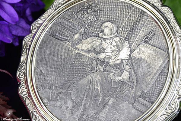 ストラットン Stratton 銅版画 プリンセス The Princess セルフオープニング お粉用コンパクト