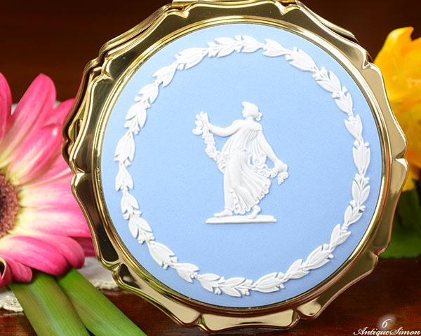 ストラットン Stratton ペールブルージャスパー ピンクジャスパー フローラルガール WEDGWOOD ウェッジウッド コンパクト アンティーク彩門
